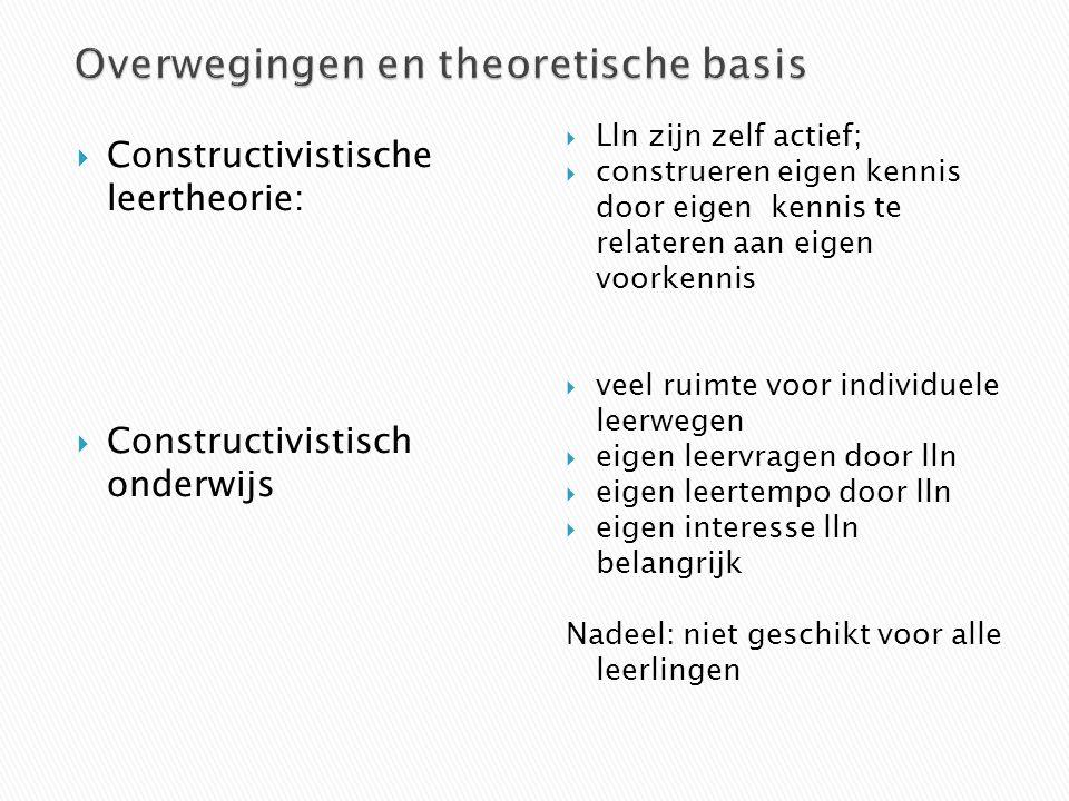  Constructivistische leertheorie:  Constructivistisch onderwijs  Lln zijn zelf actief;  construeren eigen kennis door eigen kennis te relateren aa