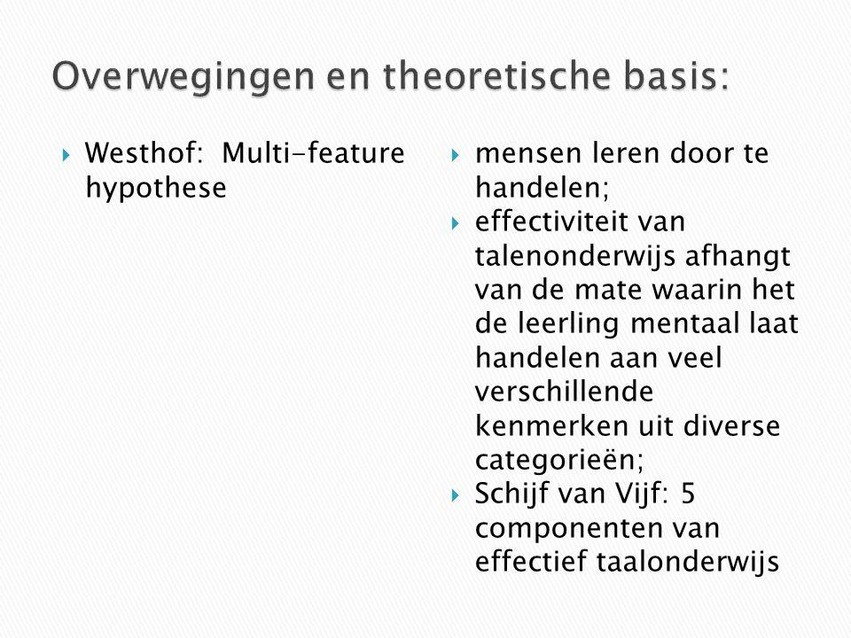  Westhof:Multi-feature hypothese  mensen leren door te handelen;  effectiviteit van talenonderwijs afhangt van de mate waarin het de leerling menta