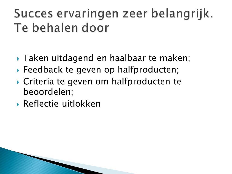  Taken uitdagend en haalbaar te maken;  Feedback te geven op halfproducten;  Criteria te geven om halfproducten te beoordelen;  Reflectie uitlokke
