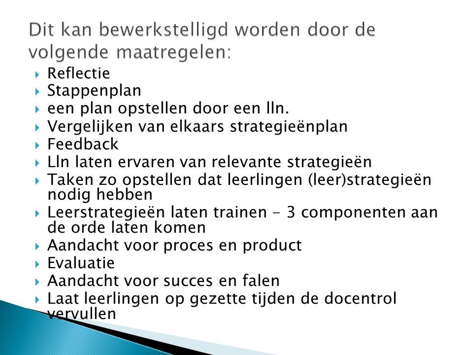  Reflectie  Stappenplan  een plan opstellen door een lln.  Vergelijken van elkaars strategieënplan  Feedback  Lln laten ervaren van relevante st