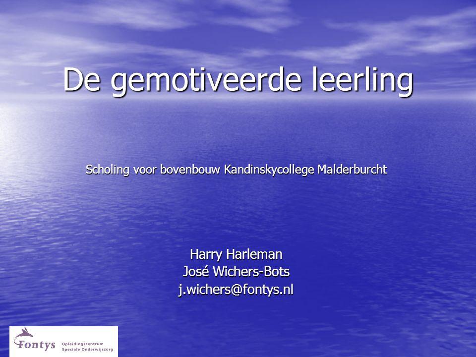 De gemotiveerde leerling De gemotiveerde leerling Scholing voor bovenbouw Kandinskycollege Malderburcht Harry Harleman José Wichers-Bots j.wichers@fontys.nl