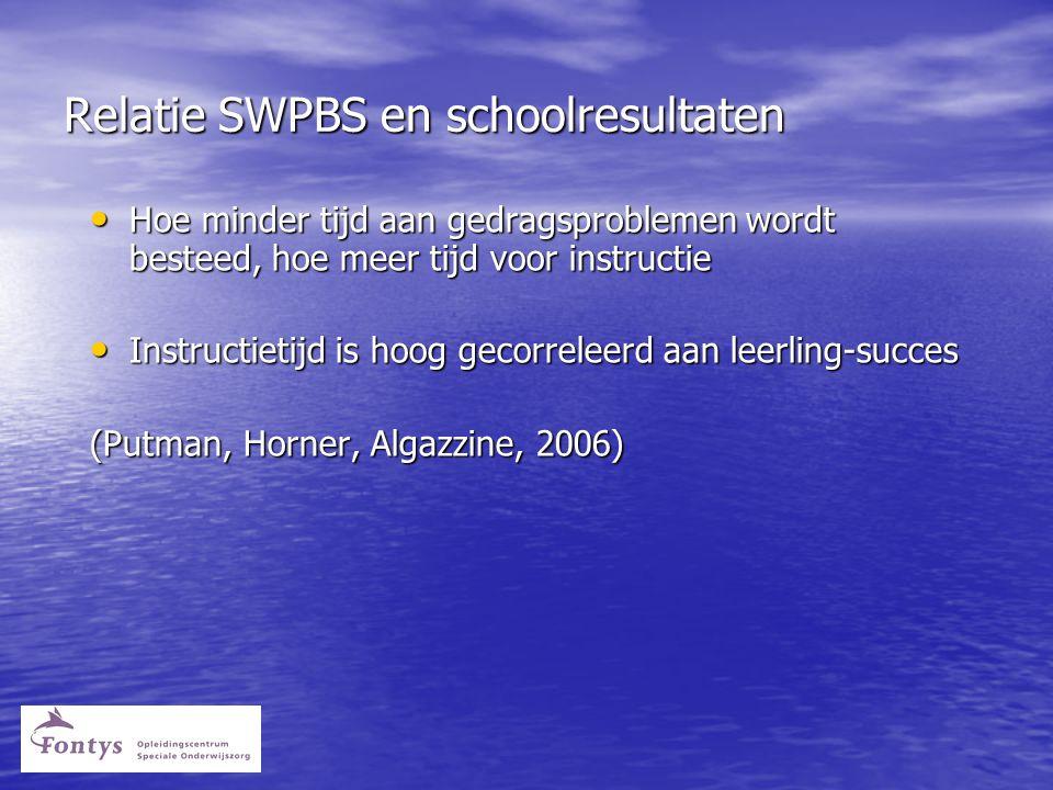 Relatie SWPBS en schoolresultaten • Hoe minder tijd aan gedragsproblemen wordt besteed, hoe meer tijd voor instructie • Instructietijd is hoog gecorreleerd aan leerling-succes (Putman, Horner, Algazzine, 2006)