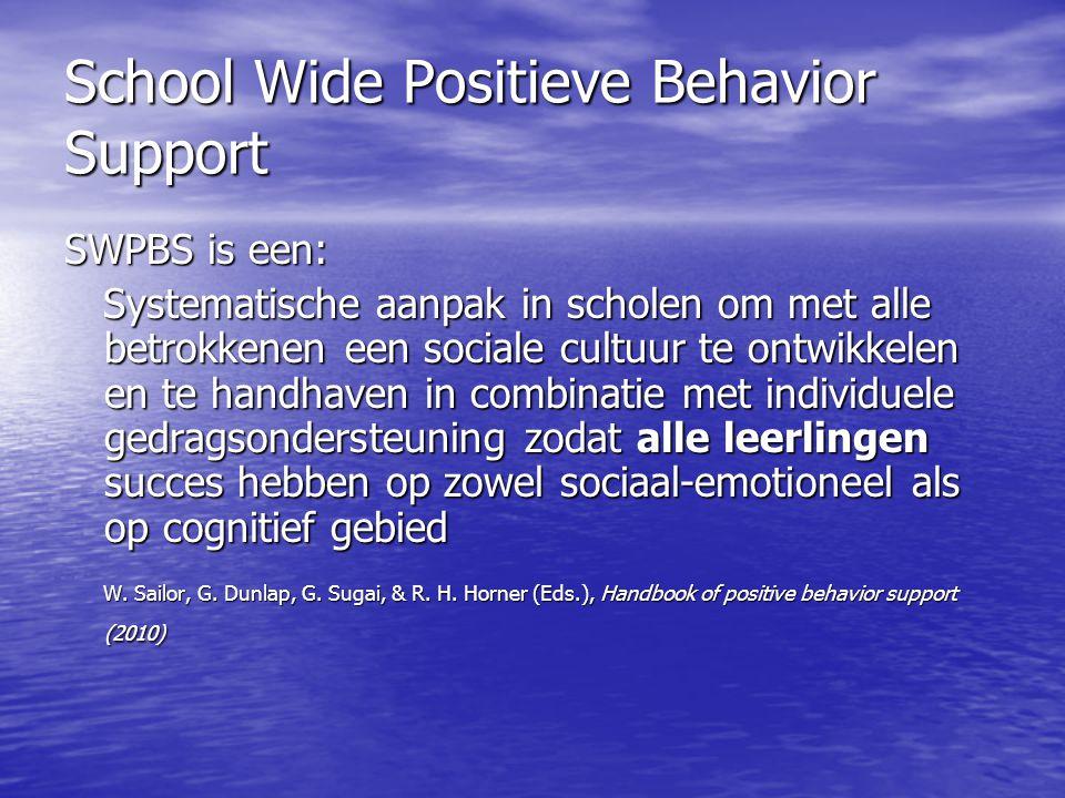 School Wide Positieve Behavior Support SWPBS is een: Systematische aanpak in scholen om met alle betrokkenen een sociale cultuur te ontwikkelen en te handhaven in combinatie met individuele gedragsondersteuning zodat alle leerlingen succes hebben op zowel sociaal-emotioneel als op cognitief gebied Systematische aanpak in scholen om met alle betrokkenen een sociale cultuur te ontwikkelen en te handhaven in combinatie met individuele gedragsondersteuning zodat alle leerlingen succes hebben op zowel sociaal-emotioneel als op cognitief gebied W.