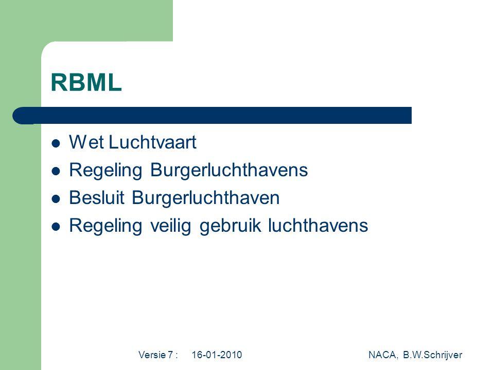Versie 7 : 16-01-2010 NACA, B.W.Schrijver RBML  Wet Luchtvaart  Regeling Burgerluchthavens  Besluit Burgerluchthaven  Regeling veilig gebruik luchthavens