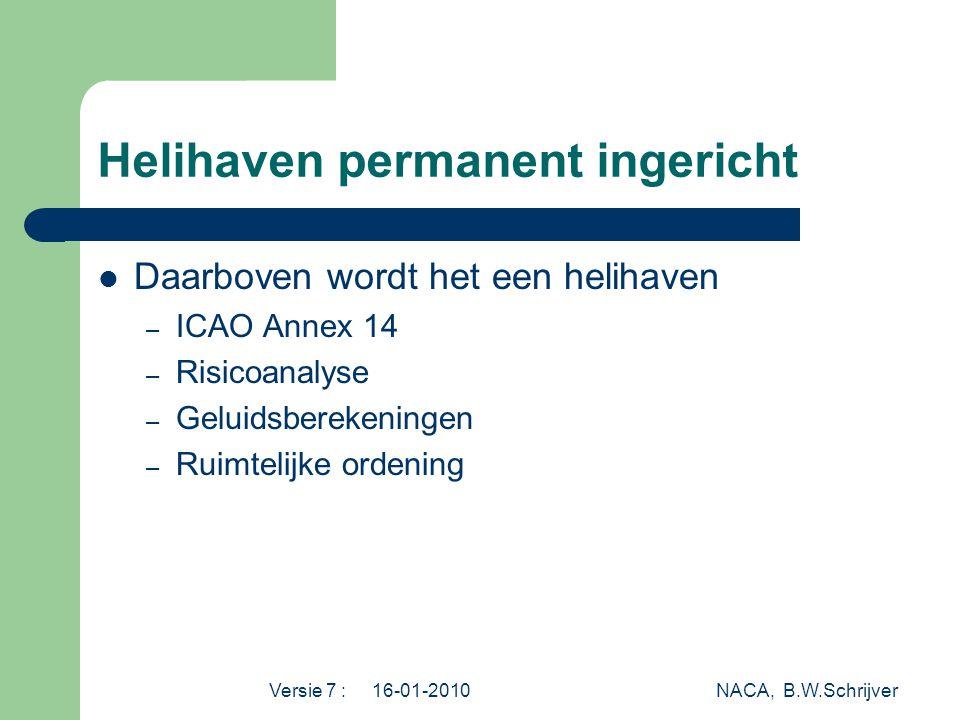 Versie 7 : 16-01-2010 NACA, B.W.Schrijver Helihaven permanent ingericht  Daarboven wordt het een helihaven – ICAO Annex 14 – Risicoanalyse – Geluidsberekeningen – Ruimtelijke ordening