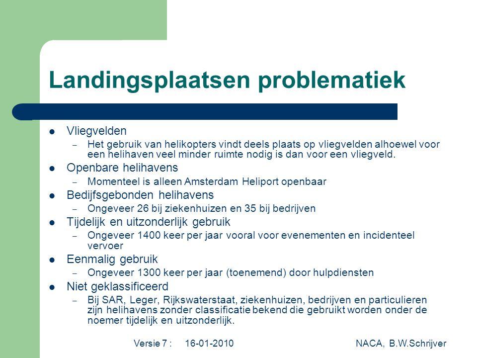 Versie 7 : 16-01-2010 NACA, B.W.Schrijver Landingsplaatsen problematiek  Vliegvelden – Het gebruik van helikopters vindt deels plaats op vliegvelden