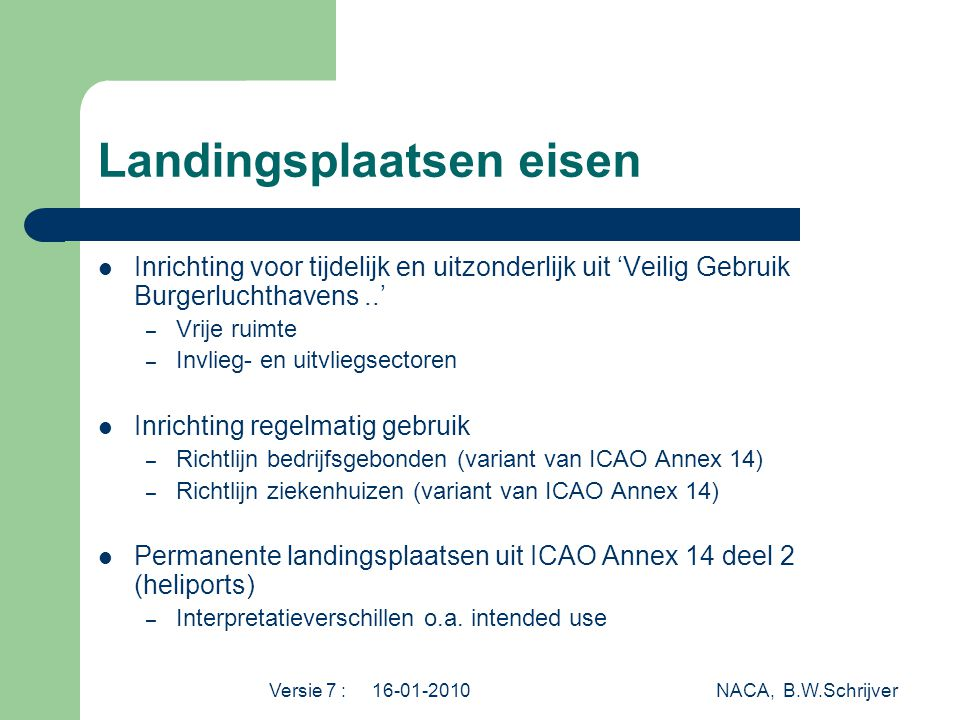 Versie 7 : 16-01-2010 NACA, B.W.Schrijver Landingsplaatsen eisen  Inrichting voor tijdelijk en uitzonderlijk uit 'Veilig Gebruik Burgerluchthavens..' – Vrije ruimte – Invlieg- en uitvliegsectoren  Inrichting regelmatig gebruik – Richtlijn bedrijfsgebonden (variant van ICAO Annex 14) – Richtlijn ziekenhuizen (variant van ICAO Annex 14)  Permanente landingsplaatsen uit ICAO Annex 14 deel 2 (heliports) – Interpretatieverschillen o.a.