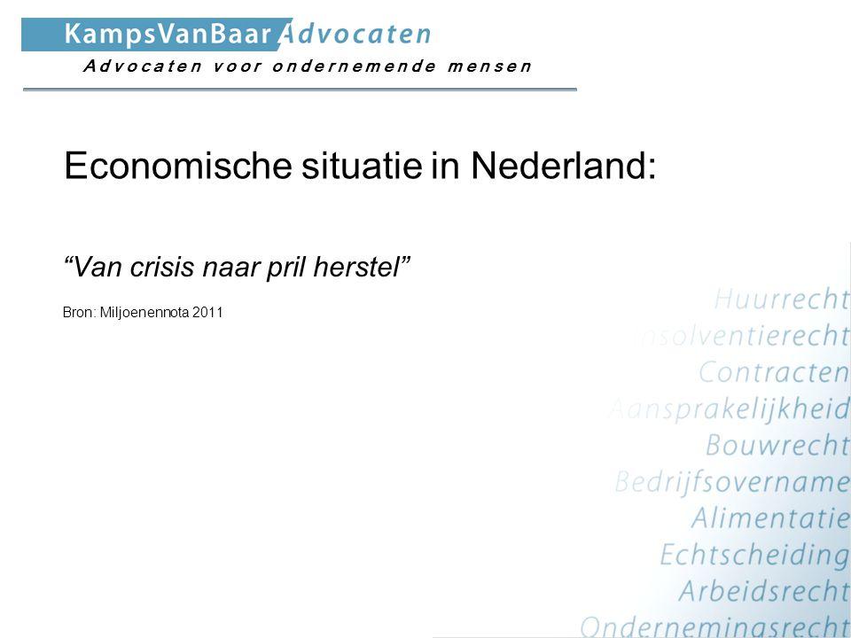 """""""Van crisis naar pril herstel"""" Bron: Miljoenennota 2011 Economische situatie in Nederland: A d v o c a t e n v o o r o n d e r n e m e n d e m e n s e"""
