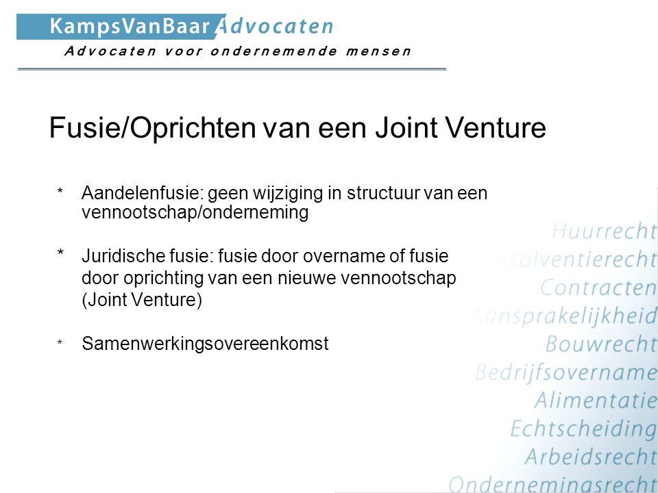 Gevolg: alle rechten en verplichtingen van de werknemers gaan mee over naar de Joint Venture Voorbeeld: A en B gaan samenwerken in de schoonmaak en richten onderneming C ( BV/OV(R)) op.