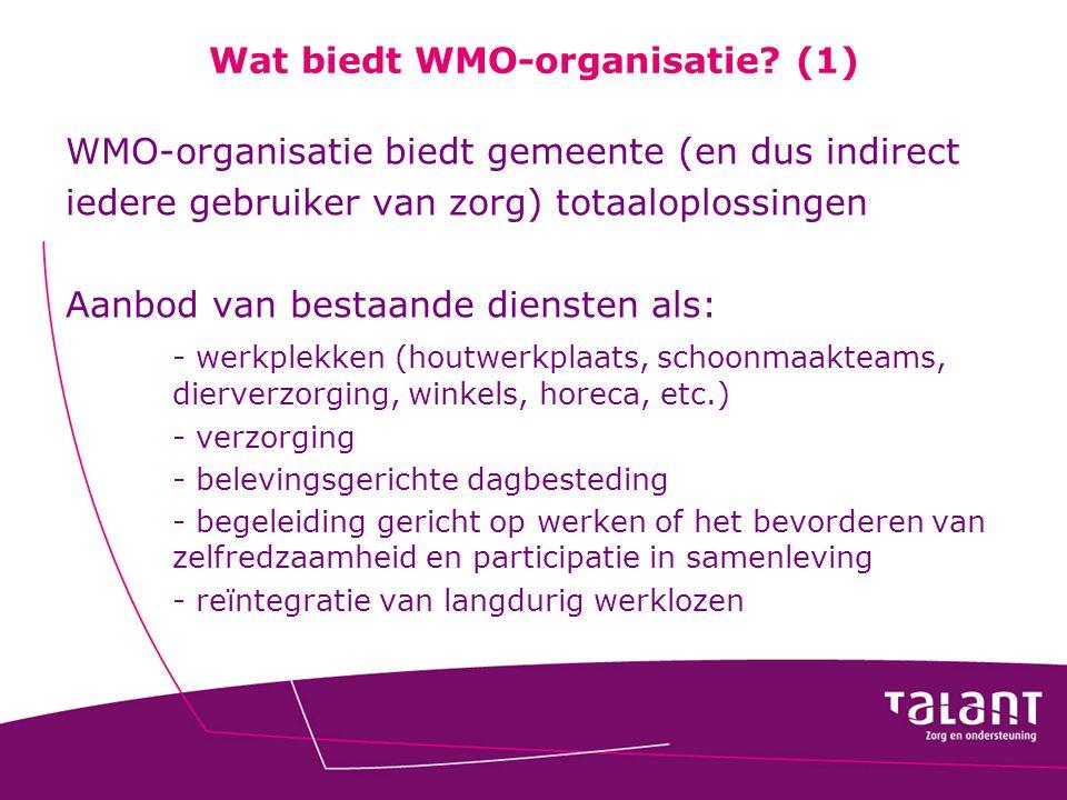 Wat biedt WMO-organisatie? (1) WMO-organisatie biedt gemeente (en dus indirect iedere gebruiker van zorg) totaaloplossingen Aanbod van bestaande diens