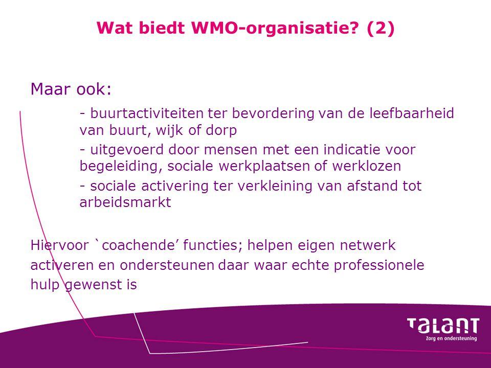 Wat biedt WMO-organisatie? (2) Maar ook: - buurtactiviteiten ter bevordering van de leefbaarheid van buurt, wijk of dorp - uitgevoerd door mensen met