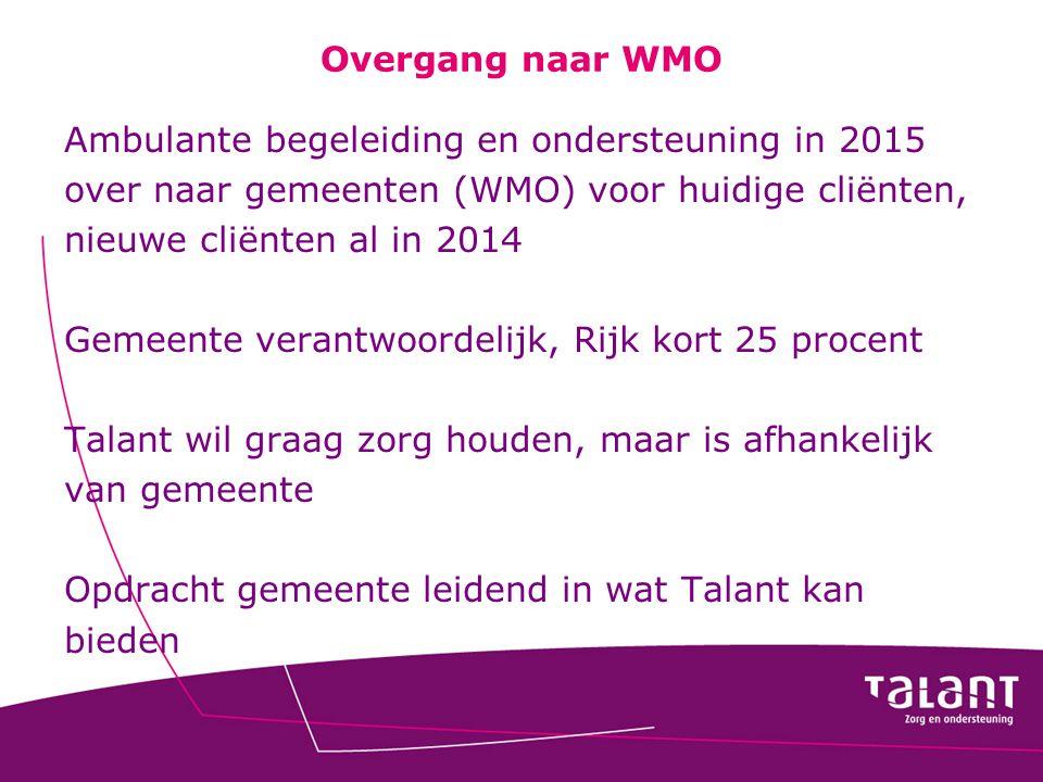 Overgang naar WMO Ambulante begeleiding en ondersteuning in 2015 over naar gemeenten (WMO) voor huidige cliënten, nieuwe cliënten al in 2014 Gemeente
