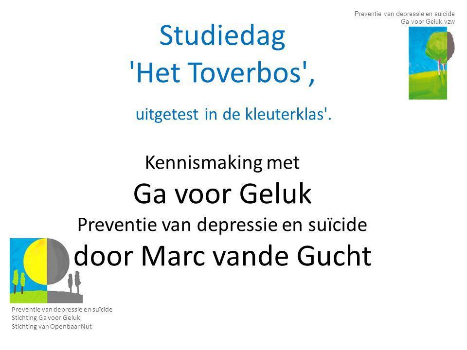 Vzw Ga voor Geluk Stichting Ga voor Geluk Ontstaan – Initiatief van 2 nabestaande families – Om de dramatisch hoge suïcidecijfers in België, vooral bij jongeren, te verminderen – Oprichting vzw Ga voor Geluk in juni 2005.