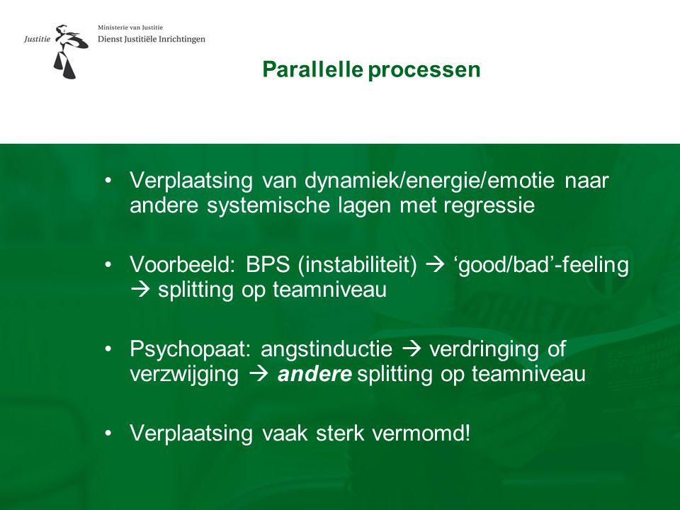 Parallelle processen •Verplaatsing van dynamiek/energie/emotie naar andere systemische lagen met regressie •Voorbeeld: BPS (instabiliteit)  'good/bad