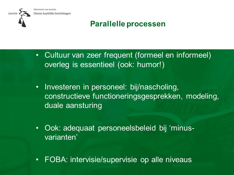 Parallelle processen •Cultuur van zeer frequent (formeel en informeel) overleg is essentieel (ook: humor!) •Investeren in personeel: bij/nascholing, c