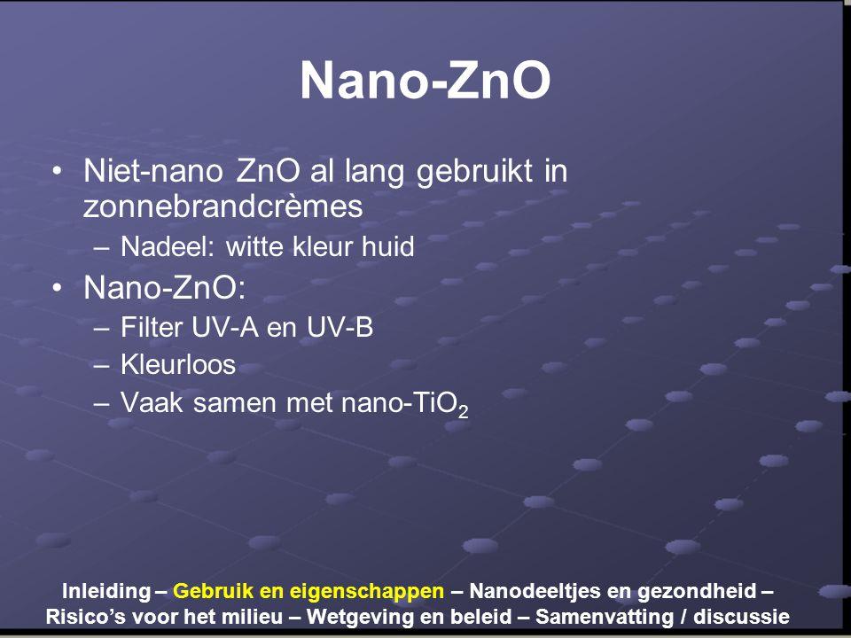 Nano-ZnO •Niet-nano ZnO al lang gebruikt in zonnebrandcrèmes –Nadeel: witte kleur huid •Nano-ZnO: –Filter UV-A en UV-B –Kleurloos –Vaak samen met nano-TiO 2 Inleiding – Gebruik en eigenschappen – Nanodeeltjes en gezondheid – Risico's voor het milieu – Wetgeving en beleid – Samenvatting / discussie