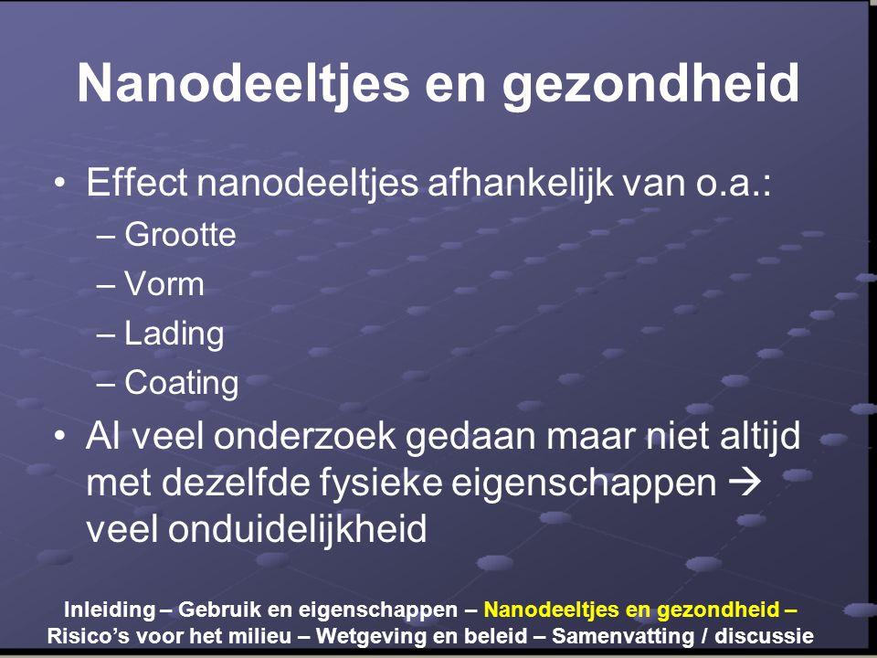 Nanodeeltjes en gezondheid •Effect nanodeeltjes afhankelijk van o.a.: –Grootte –Vorm –Lading –Coating •Al veel onderzoek gedaan maar niet altijd met d