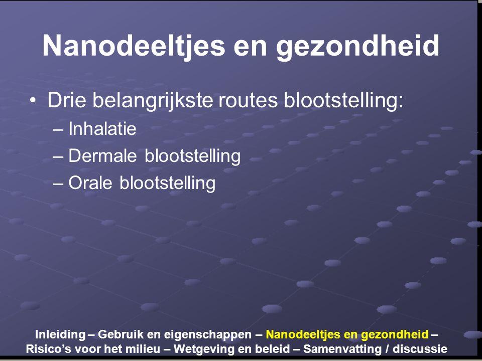 Nanodeeltjes en gezondheid •Drie belangrijkste routes blootstelling: –Inhalatie –Dermale blootstelling –Orale blootstelling Inleiding – Gebruik en eigenschappen – Nanodeeltjes en gezondheid – Risico's voor het milieu – Wetgeving en beleid – Samenvatting / discussie