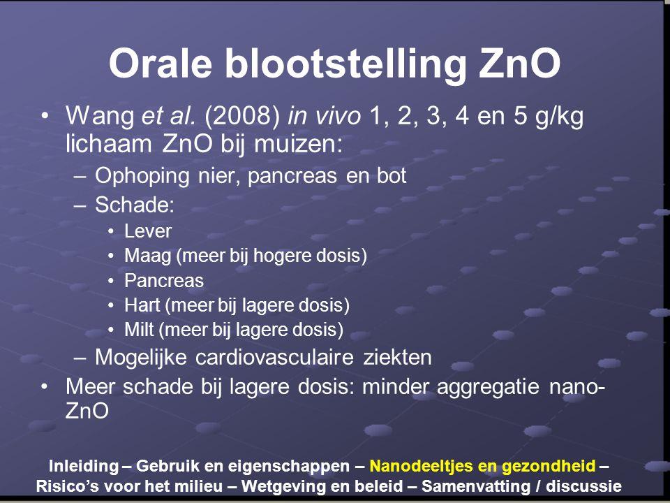 Orale blootstelling ZnO •Wang et al. (2008) in vivo 1, 2, 3, 4 en 5 g/kg lichaam ZnO bij muizen: –Ophoping nier, pancreas en bot –Schade: •Lever •Maag