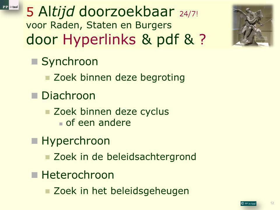 12 5 Altijd doorzoekbaar 24/7! voor Raden, Staten en Burgers door Hyperlinks & pdf & ?  Synchroon  Zoek binnen deze begroting  Diachroon  Zoek bin