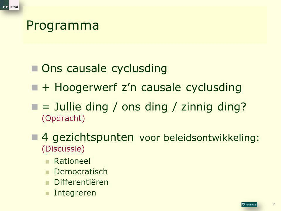 2 Programma  Ons causale cyclusding  + Hoogerwerf z'n causale cyclusding  = Jullie ding / ons ding / zinnig ding.