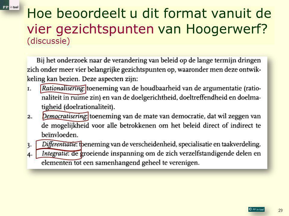 Hoe beoordeelt u dit format vanuit de vier gezichtspunten van Hoogerwerf? (discussie) 29