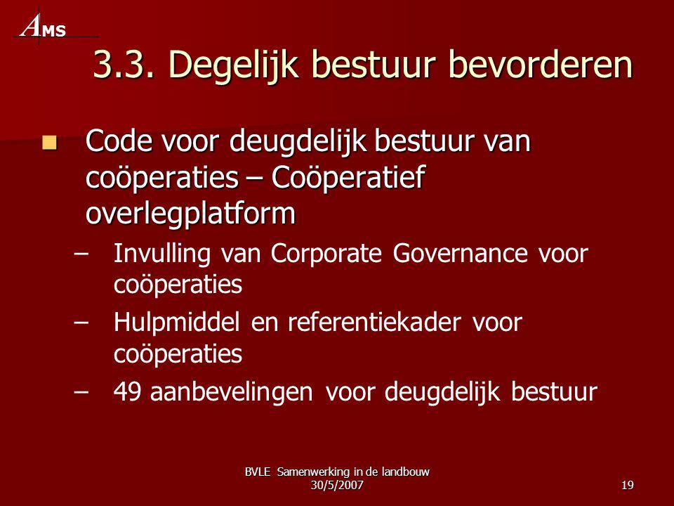 BVLE Samenwerking in de landbouw 30/5/200719 3.3. Degelijk bestuur bevorderen  Code voor deugdelijk bestuur van coöperaties – Coöperatief overlegplat