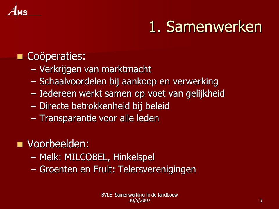 BVLE Samenwerking in de landbouw 30/5/20073 1.