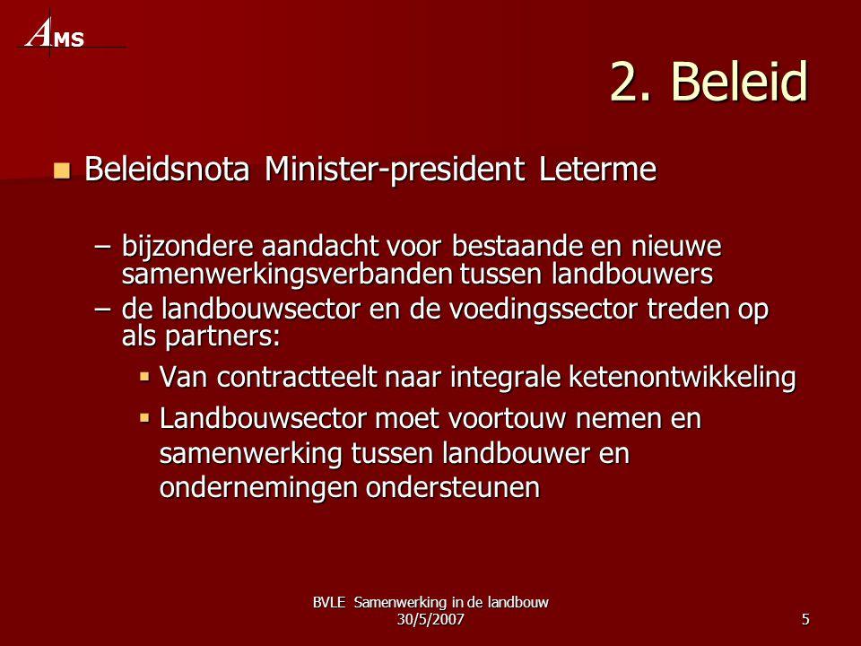 BVLE Samenwerking in de landbouw 30/5/20075 2. Beleid  Beleidsnota Minister-president Leterme –bijzondere aandacht voor bestaande en nieuwe samenwerk