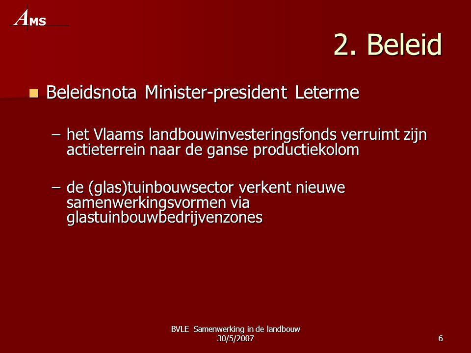 BVLE Samenwerking in de landbouw 30/5/20076 2. Beleid  Beleidsnota Minister-president Leterme –het Vlaams landbouwinvesteringsfonds verruimt zijn act