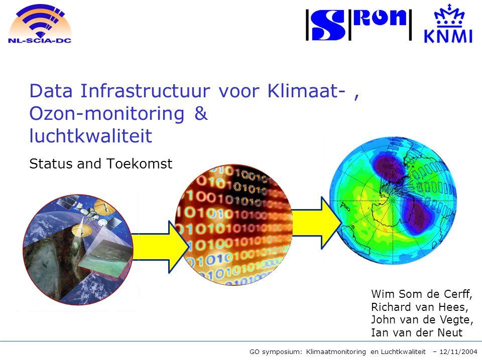 GO symposium: Klimaatmonitoring en Luchtkwaliteit – 12/11/2004 Data Infrastructuur voor Klimaat-, Ozon-monitoring & luchtkwaliteit Status and Toekomst Wim Som de Cerff, Richard van Hees, John van de Vegte, Ian van der Neut