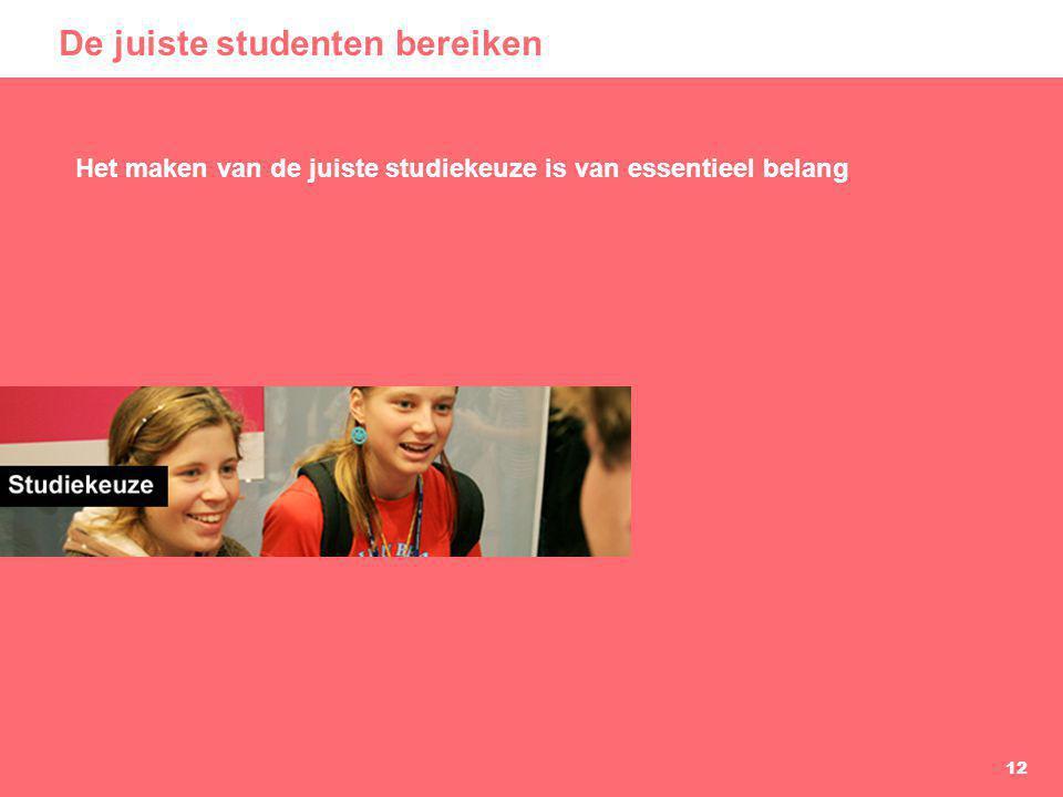 12 De juiste studenten bereiken Het maken van de juiste studiekeuze is van essentieel belang