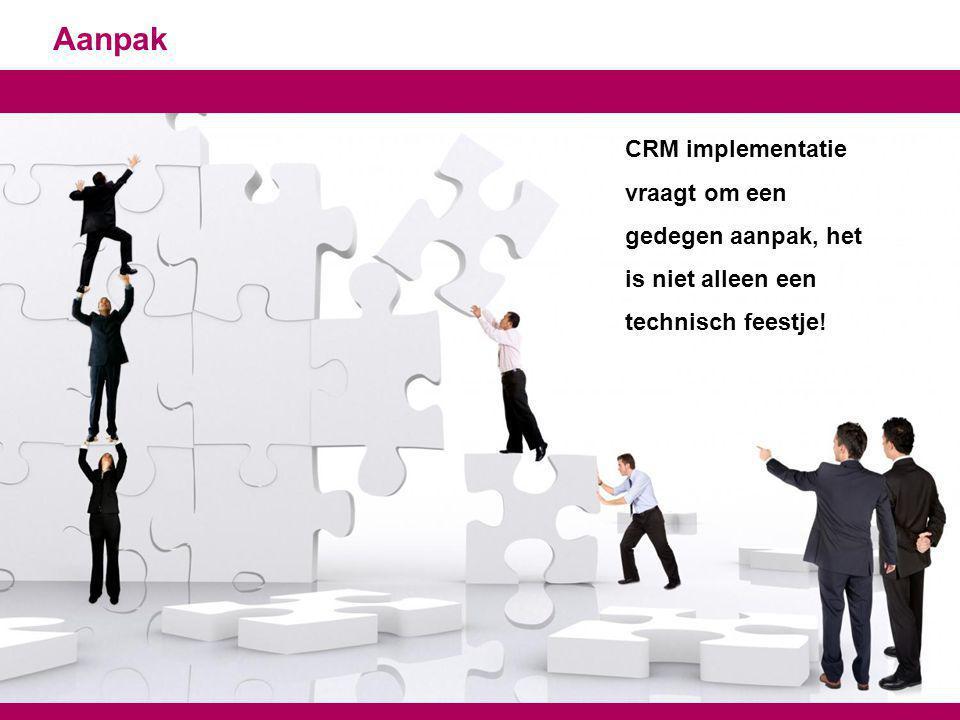 Aanpak 21 CRM implementatie vraagt om een gedegen aanpak, het is niet alleen een technisch feestje!