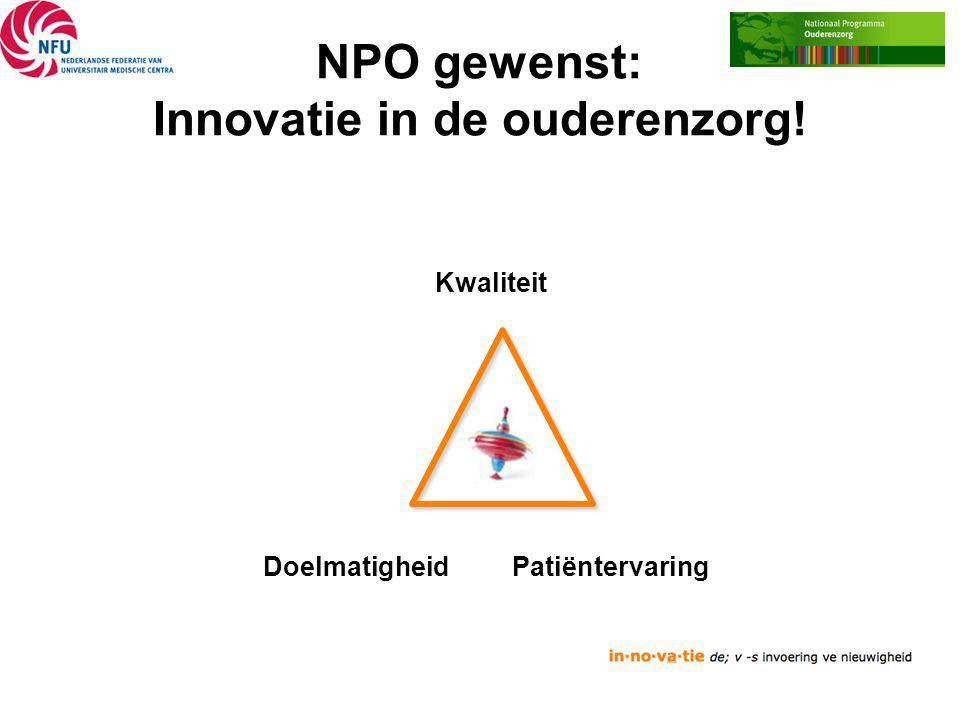 NPO gewenst: Innovatie in de ouderenzorg! Kwaliteit Doelmatigheid Patiëntervaring