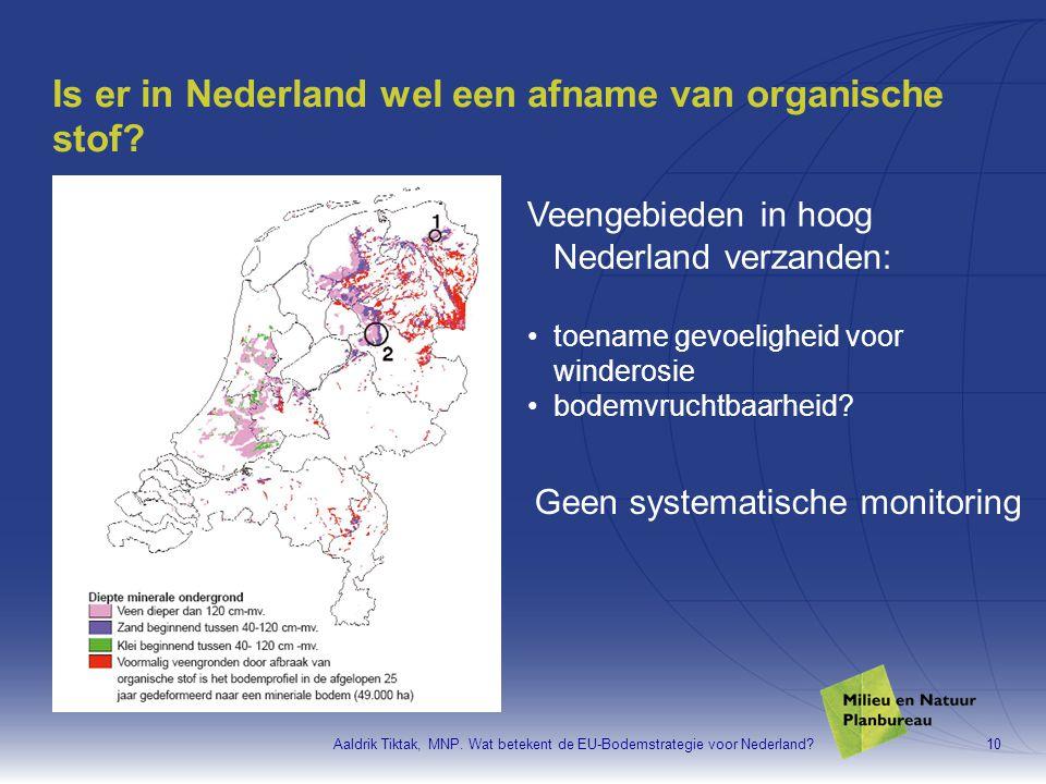Aaldrik Tiktak, MNP. Wat betekent de EU-Bodemstrategie voor Nederland?10 Is er in Nederland wel een afname van organische stof? Veengebieden in hoog N