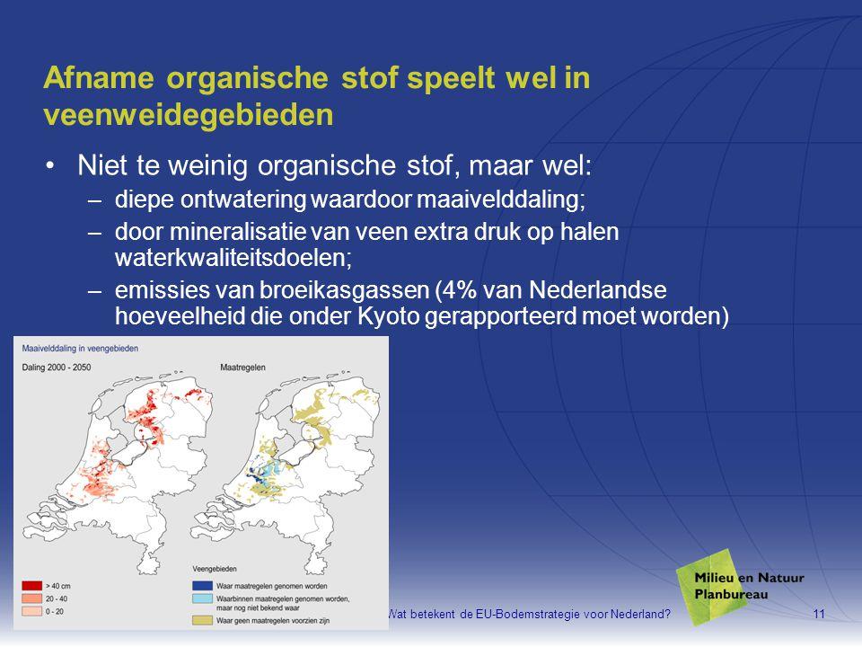 Aaldrik Tiktak, MNP. Wat betekent de EU-Bodemstrategie voor Nederland?11 Afname organische stof speelt wel in veenweidegebieden •Niet te weinig organi
