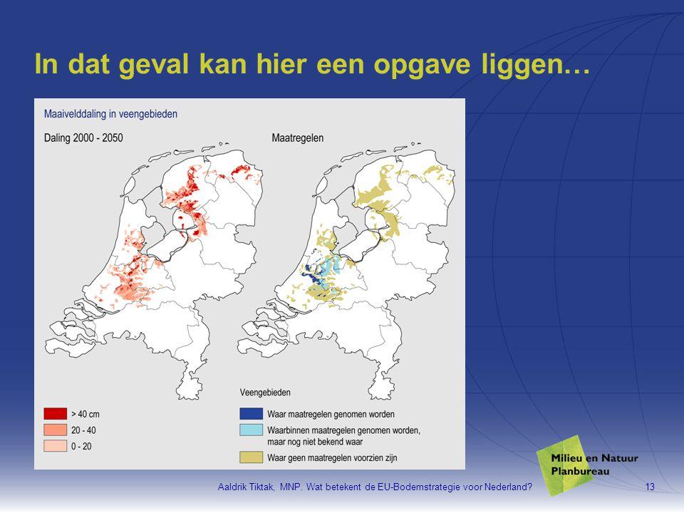 Aaldrik Tiktak, MNP. Wat betekent de EU-Bodemstrategie voor Nederland?13 In dat geval kan hier een opgave liggen…