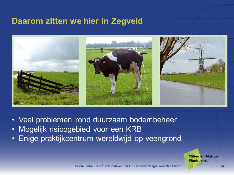 Aaldrik Tiktak, MNP. Wat betekent de EU-Bodemstrategie voor Nederland?14 Daarom zitten we hier in Zegveld •Veel problemen rond duurzaam bodembeheer •M
