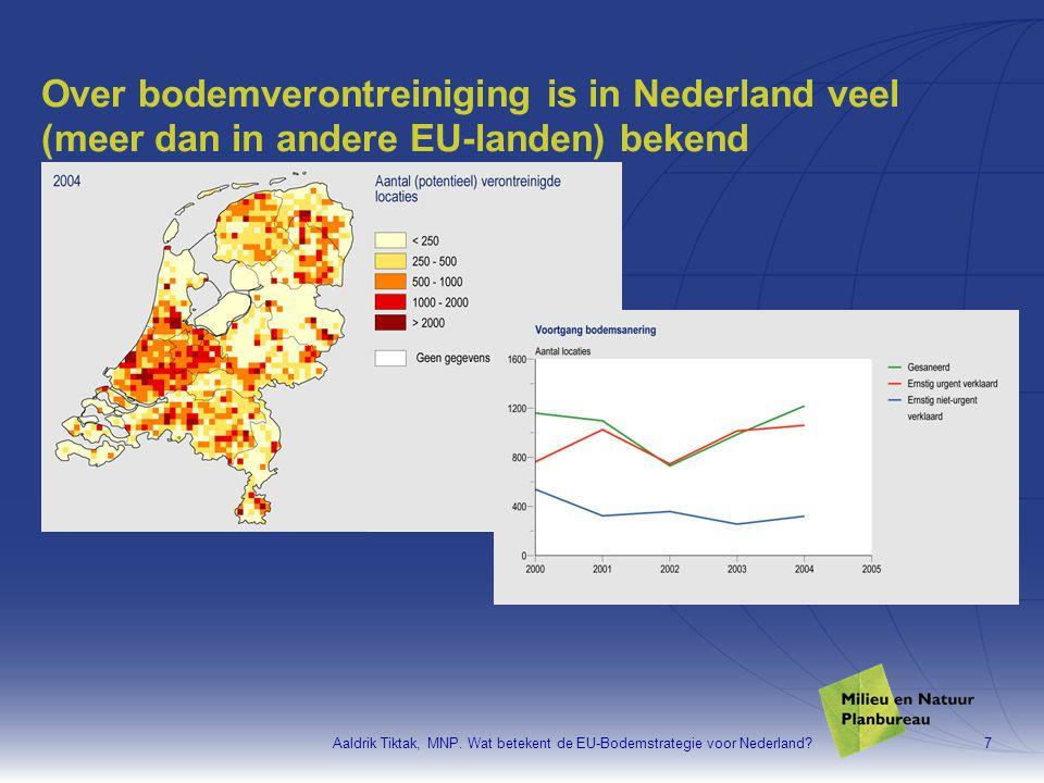 Aaldrik Tiktak, MNP. Wat betekent de EU-Bodemstrategie voor Nederland?7 Over bodemverontreiniging is in Nederland veel (meer dan in andere EU-landen)