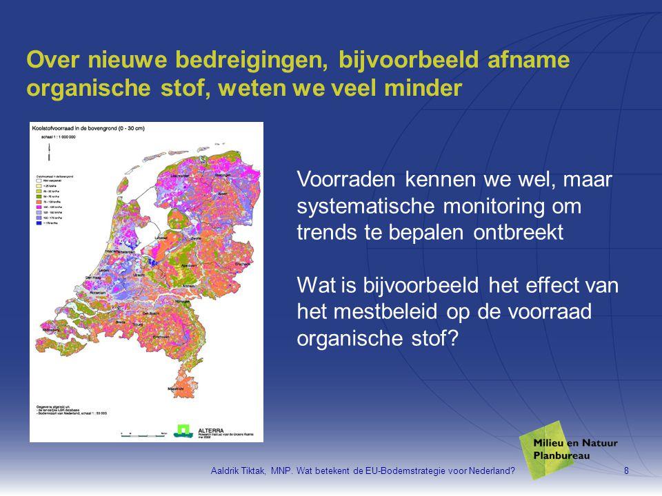 Aaldrik Tiktak, MNP. Wat betekent de EU-Bodemstrategie voor Nederland?8 Over nieuwe bedreigingen, bijvoorbeeld afname organische stof, weten we veel m