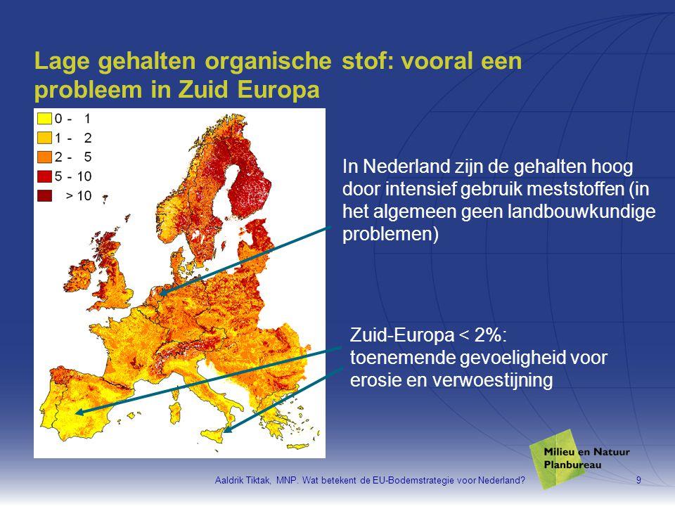 Aaldrik Tiktak, MNP. Wat betekent de EU-Bodemstrategie voor Nederland?9 Lage gehalten organische stof: vooral een probleem in Zuid Europa Zuid-Europa