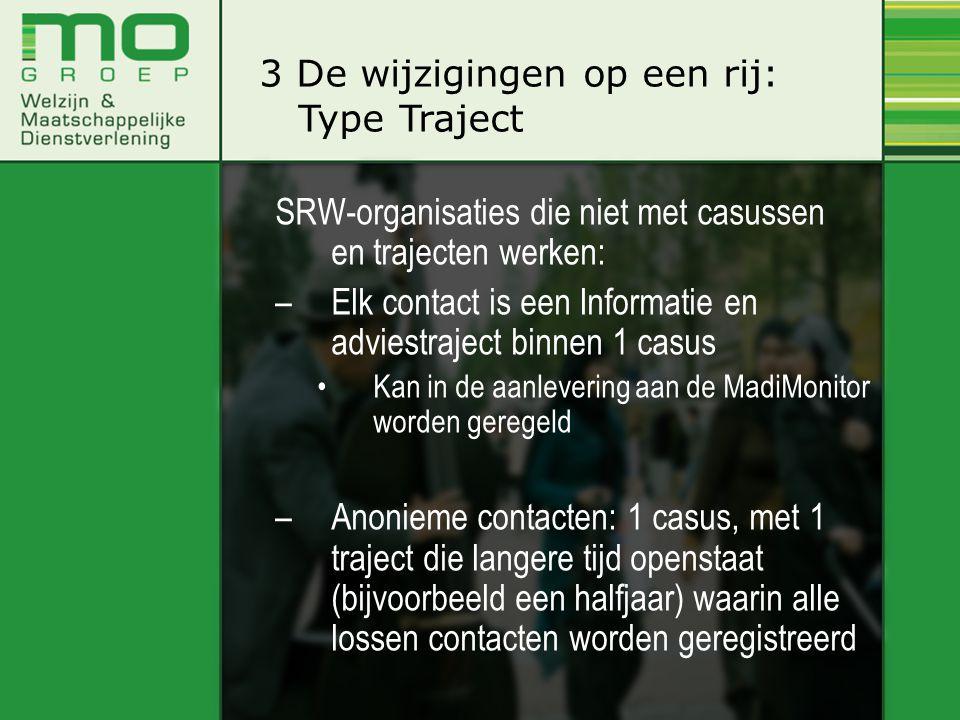 SRW-organisaties die niet met casussen en trajecten werken: –Elk contact is een Informatie en adviestraject binnen 1 casus •Kan in de aanlevering aan