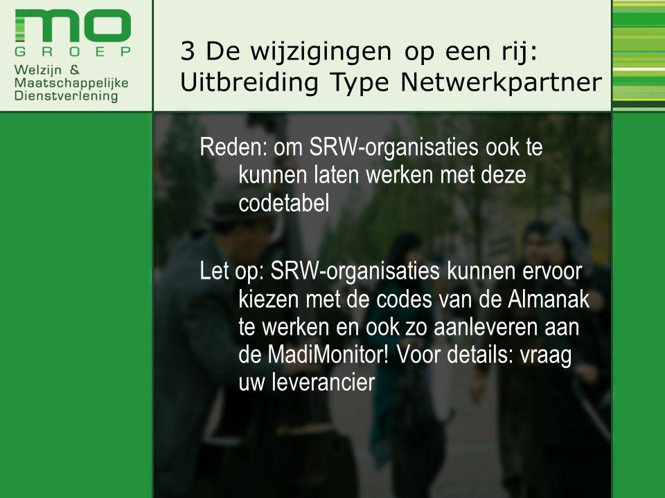 Reden: om SRW-organisaties ook te kunnen laten werken met deze codetabel Let op: SRW-organisaties kunnen ervoor kiezen met de codes van de Almanak te