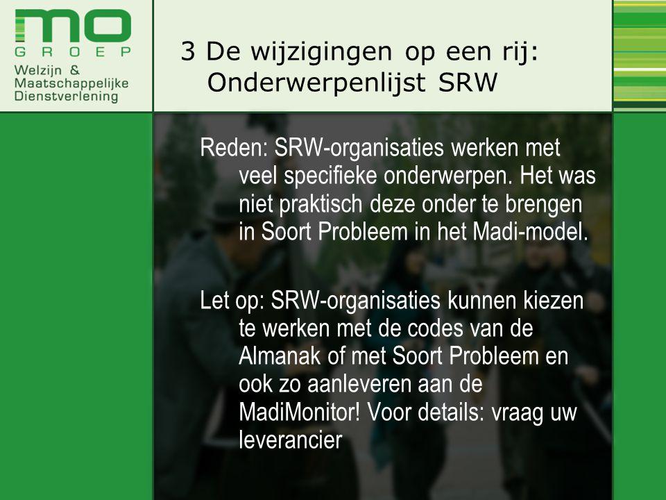 Reden: SRW-organisaties werken met veel specifieke onderwerpen. Het was niet praktisch deze onder te brengen in Soort Probleem in het Madi-model. Let