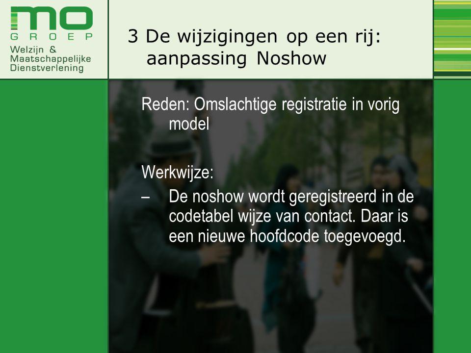 Reden: Omslachtige registratie in vorig model Werkwijze: –De noshow wordt geregistreerd in de codetabel wijze van contact. Daar is een nieuwe hoofdcod