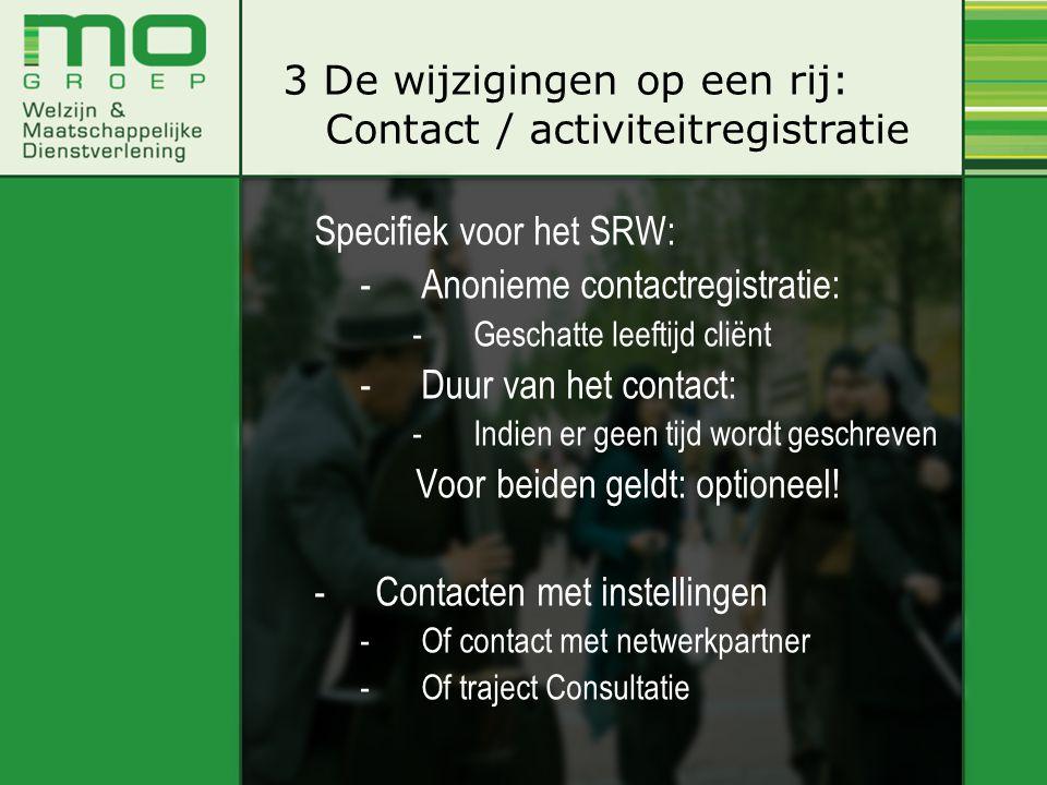 Specifiek voor het SRW: -Anonieme contactregistratie: -Geschatte leeftijd cliënt -Duur van het contact: -Indien er geen tijd wordt geschreven Voor bei