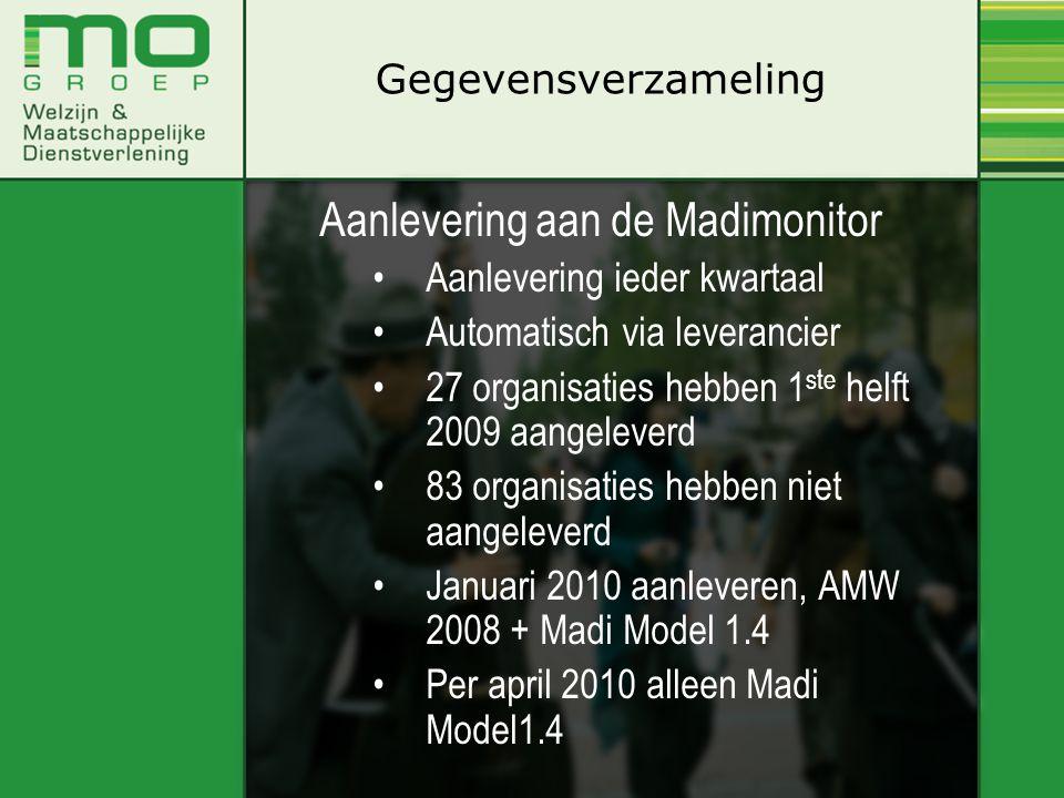 Aanlevering aan de Madimonitor •Aanlevering ieder kwartaal •Automatisch via leverancier •27 organisaties hebben 1 ste helft 2009 aangeleverd •83 organ