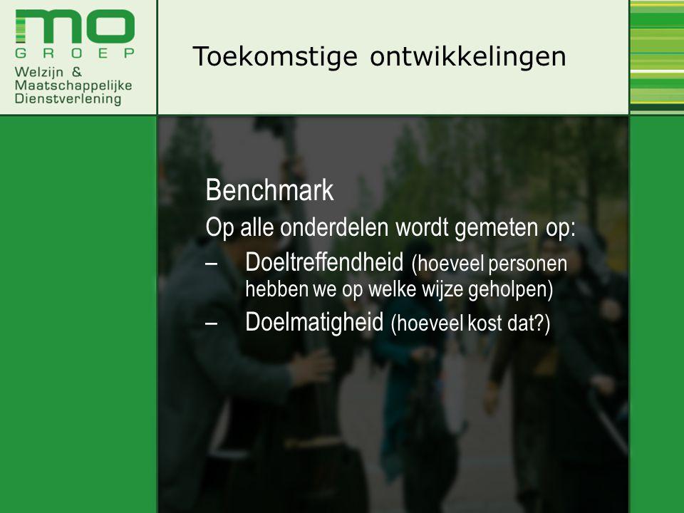Toekomstige ontwikkelingen Benchmark Op alle onderdelen wordt gemeten op: –Doeltreffendheid (hoeveel personen hebben we op welke wijze geholpen) –Doel