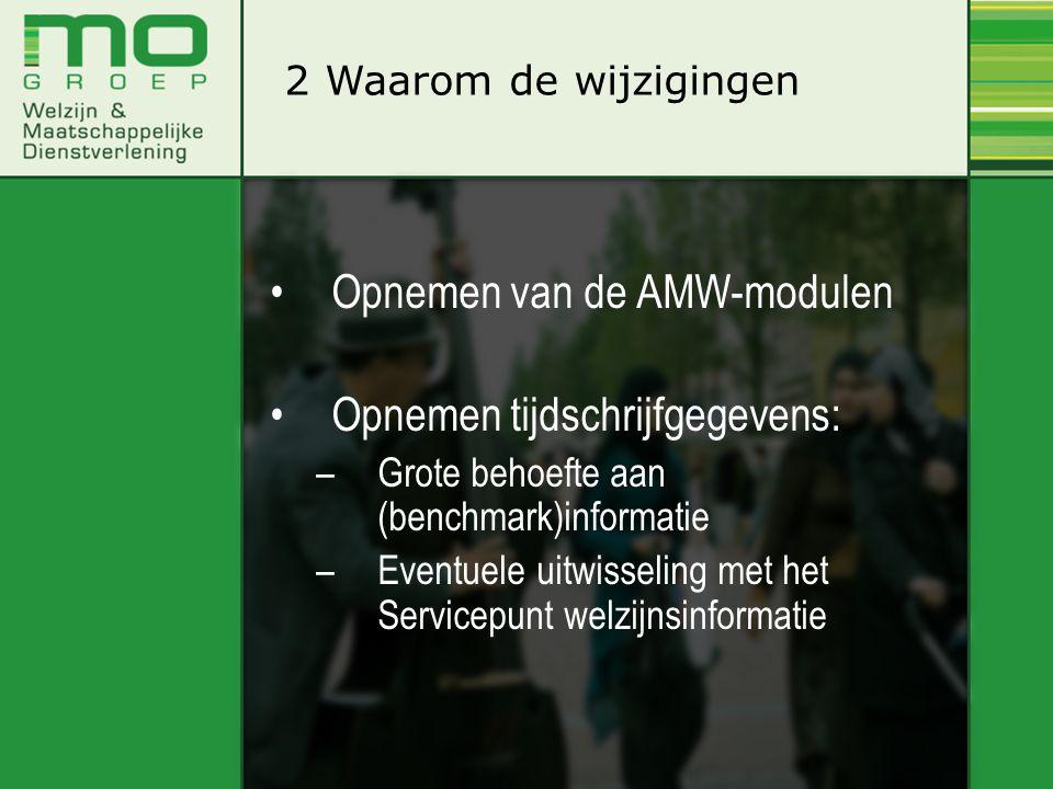 •Opnemen van de AMW-modulen •Opnemen tijdschrijfgegevens: –Grote behoefte aan (benchmark)informatie –Eventuele uitwisseling met het Servicepunt welzij