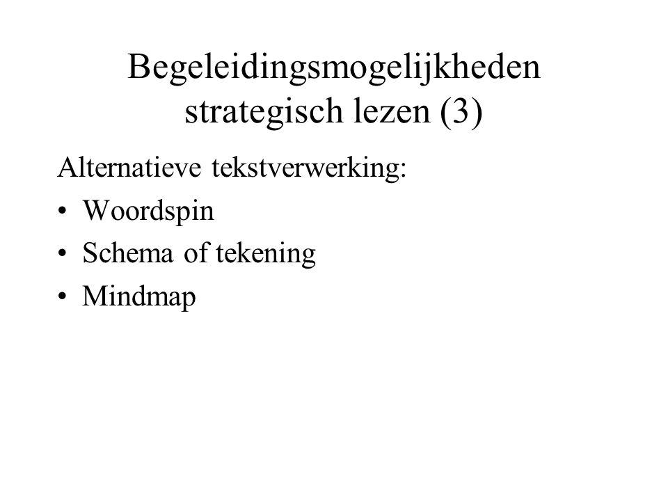 Begeleidingsmogelijkheden strategisch lezen (3) Alternatieve tekstverwerking: •Woordspin •Schema of tekening •Mindmap